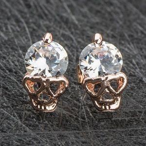 Clear Crystal Skull Stud Earrings